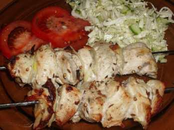 Шашлык из курицы или индейки с майонезом в аэрогриле