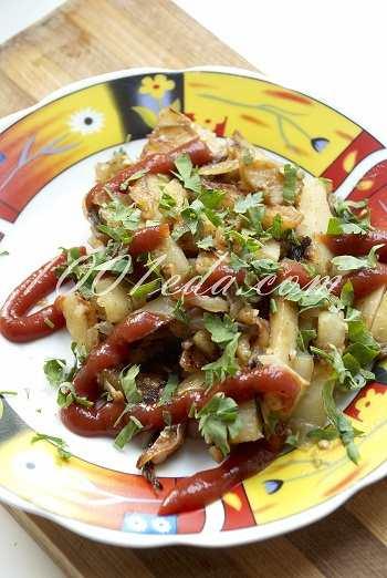 Жареный картофель с баклажанами: рецепт с пошаговым фото
