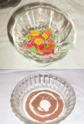 Десерт сметанный «Зебра» с цукатами: рецепт с пошаговым фото