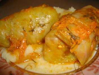 Голубцы с вареным мясом и рисом