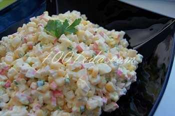 Крабовый салат с зеленым луком: рецепт с пошаговым фото