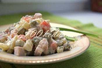Мясной салат с отварной морковью: рецепт Оливье с пошаговым фото