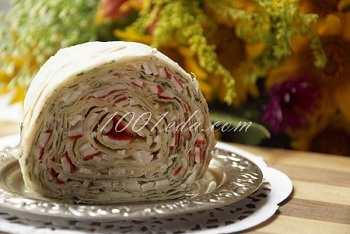 Рулет из лаваша с начинкой из крабовых палочек: рецепт с пошаговым фото