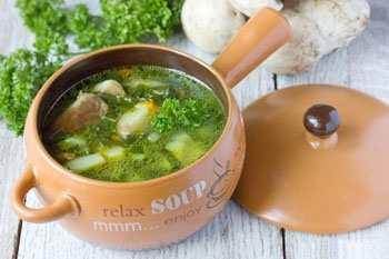 Суп со шпинатом и грибами