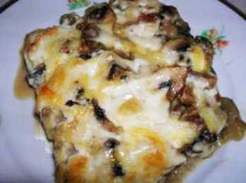 Запеканка из макарон с баклажанами, сыром и базиликом